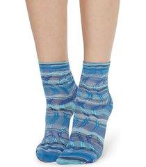 calzedonia socks with fancy motif woman blue size tu