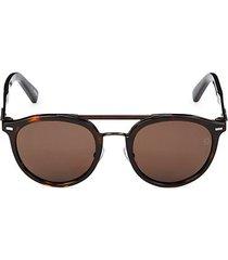 50mm faux tortoiseshell round sunglasses