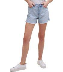 calvin klein jeans high-rise logo-printed jean shorts