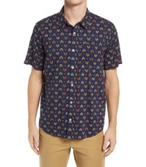 rvca la fleur regular fit short sleeve button-up shirt, size large in navy marine at nordstrom