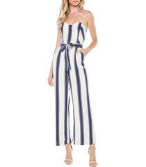 women's bardot edie stripe strapless jumpsuit