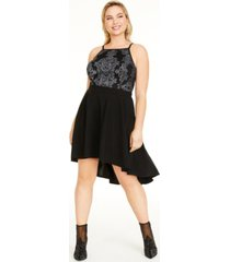 speechless trendy plus size high-low fit & flare dress, created for macy's