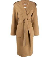 p.a.r.o.s.h. tie-waist hooded shawl coat - brown