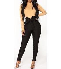 bowknot de cintura alta diseño bodycon pantalones
