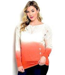 womens sweater zenobia ombre print distressed sides orange plus size 1xl 2xl 3xl