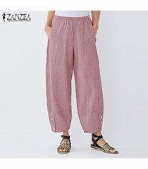 zanzea elástico de las mujeres de la cintura casual pantalones harem largas y anchas piernas del pantalón holgado -rojo