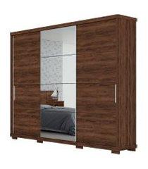 guarda-roupa barcelona robel jacaranda madeirado 3 portas de correr com espelhos marrom