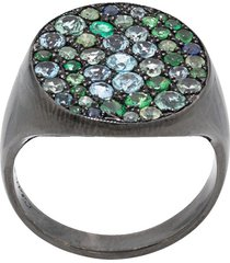 colette 18kt black gold pave emerald cocktail ring