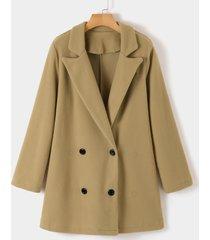 abrigo de manga larga con cuello de muesca y diseño de botones