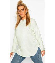 plus cotton oversized curve hem t-shirt, sage