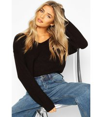cropped fisherman v neck sweater, black