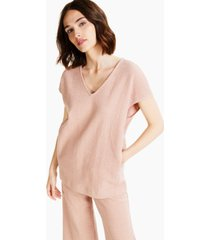 alfani solid cap-sleeve v-neck textured top, created for macy's