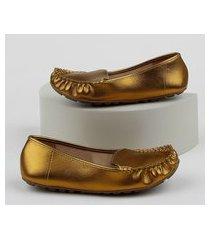 mocassim feminino vizzano metalizado dourado
