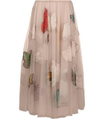 valentino butterfly beaded tulle midi skirt - pink