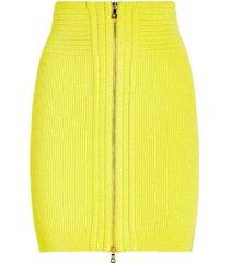 high waist ribbed knit zipper skirt