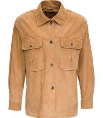 alberta ferretti beige suede leather jacket
