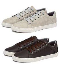 kit 2 pares sapatênis casual masculino cadarço liso conforto - cinza/marrom