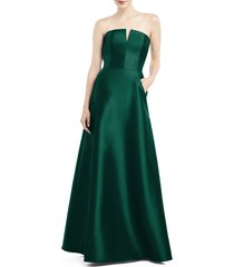 women's alfred sung strapless satin twill gown