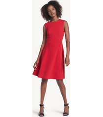 tommy hilfiger women's essential fit and flare dress scarlet - 4