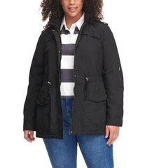 plus size women's levi's parachute cotton fishtail jacket, size 1x - black