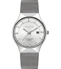 malla para hombres con calendario de reloj de cuarzo-blanco