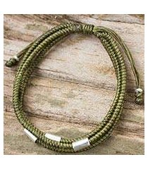 silver and braided polyester cord bracelet, 'best friend in green' (thailand)