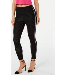 hue pin-dot knit high-waist cropped skimmer leggings