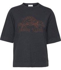 basic cotton jersey t-shirts & tops short-sleeved svart ganni