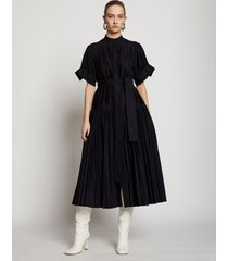 proenza schouler pleated poplin belted dress black/blue 8