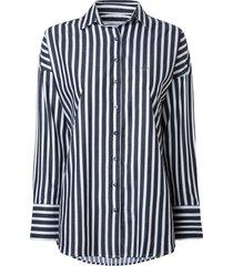 camisa dudalina manga longa resort feminina (listrado, 56)