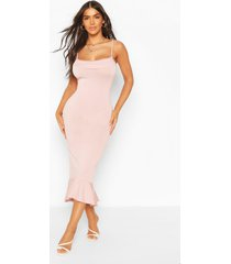 strappy cowl neck dress with fishtail hem, blush