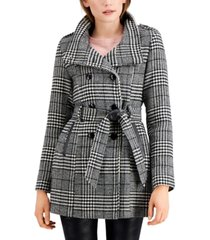 bcx juniors' plaid double-breasted belted wool coat