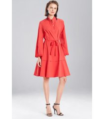 cotton poplin mandarin dress, women's, red, size 12, josie natori