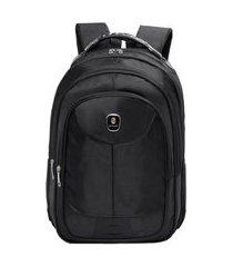 mochila notebook cabo de aço espaçosa resistente original preta 01 preto