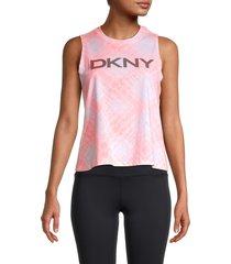 dkny women's shibori-printed logo tank top - atomic pink - size m