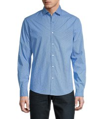 saks fifth avenue men's printed long-sleeve shirt - blue - size l