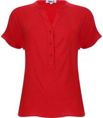 blusa suelta unicolor color rojo, talla 6
