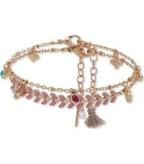 lonna & lilly gold-tone 2-pc. set crystal & imitation pearl flower ankle bracelets