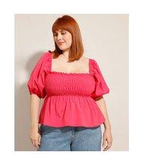 blusa plus size com lastex manga bufante decote reto mindset pink