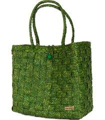 bolsa tote-shopper palha natural  forro tecido praia verde