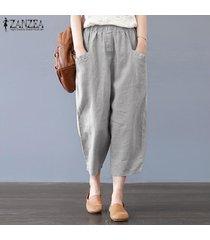 s-5xl zanzea de la mujer de harén pantalones casuales de algodón étnico tamaño holgados pantalones plus -gris