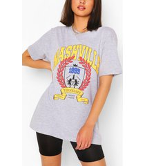 nashville collegiate print t-shirt, grey marl