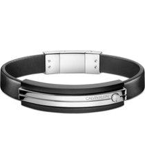 calvin klein men's adjustable bracelet in stainless steel & black pvd