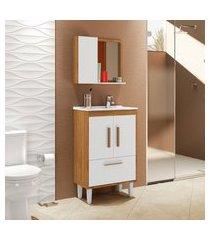 conjunto para banheiro toronto 4 portas móveis bechara cinamomo/branco