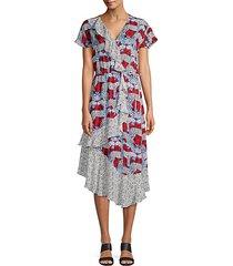 reina mixed print wrap-front midi dress