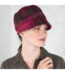 pink wool flapper cap