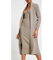 river island womens grey long sleeve knitted maxi cardigan