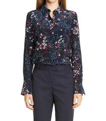 women's lafayette 148 new york scottie floral silk blouse