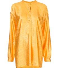 sies marjan azra crocodile-embossed satin shirt - orange