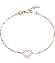 bracciale in argento rosato con cuore in madreperla e zirconi per donna